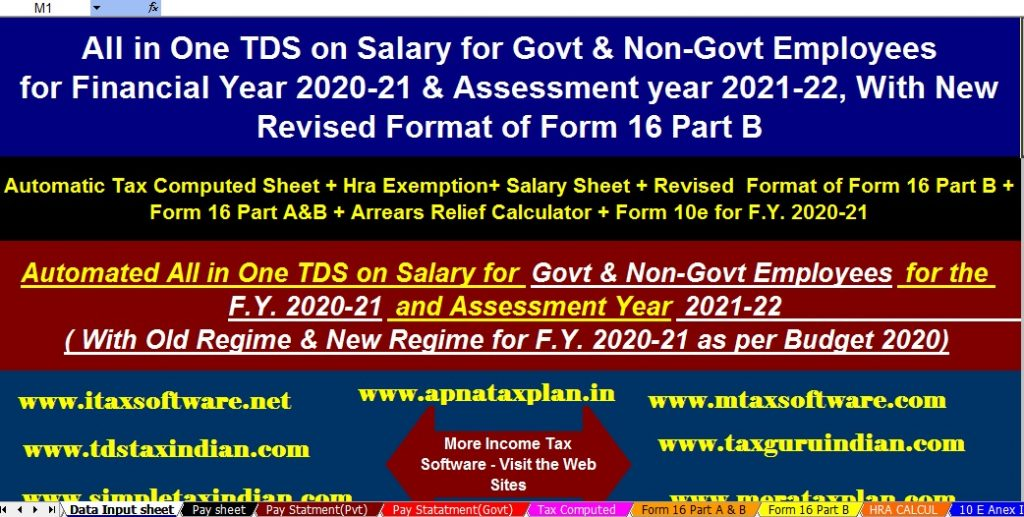 Income Tax Calculator for the Non-Govt employees for F..2020-21