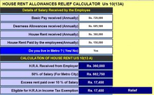 Income Tax H.R..Calculator U/s 10*13A)